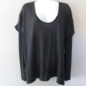 We The Free People Black Layered Look T Shirt New